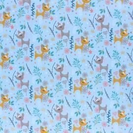 Tissu coton popeline Poppy Oh Deer! - bleu x 10cm