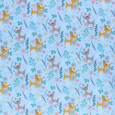 Cotton poplin fabric Poppy Oh Deer! - pink x 10cm