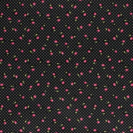 Cotton poplin fabric Poppy - black Cherry Berry x 10cm