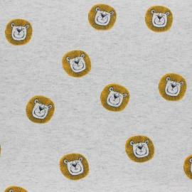 Tissu jersey Léo le lion - gris chiné x 10cm