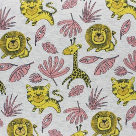 Cotton Jersey fabric - mottled raw Leo the Lion x 10cm