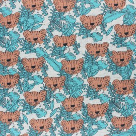 Cotton Jersey fabric - blue Kira the tiger x 10cm