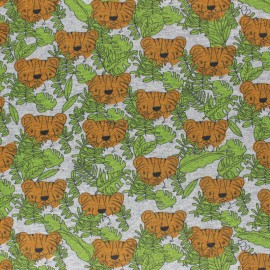 Cotton Jersey fabric - green Kira the tiger x 10cm