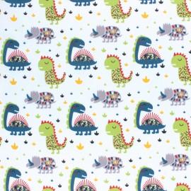 Tissu Popeline Dino confetti - Blanc x 10cm
