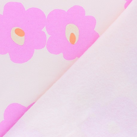 Rico design sweatshirt fabric - pink Bubbles x 10cm