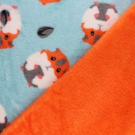 Tissu Doudou double face Hamster - bleu x 10cm