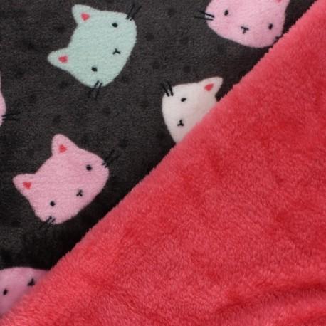 Tissu Doudou double face Pop Cats - gris x 10cm
