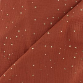 Double cotton gauze fabric - Terracotta Gold Galaxy x 10cm