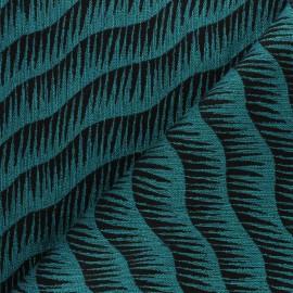 Tissu Walkie Talkie - Jacquard Vague- noir/canard x 10cm
