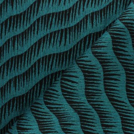 Walkie Talkie Jacquard fabric - black/teal Vague x 10cm