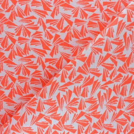 Tissu Walkie Talkie - Jacquard Origami - orange fluo x 10cm