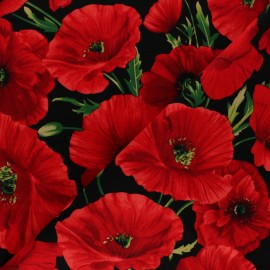 Gabardine fabric - black Poppy x 20cm