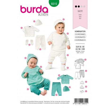 Patron Coordonné Bébé Burda n°9315