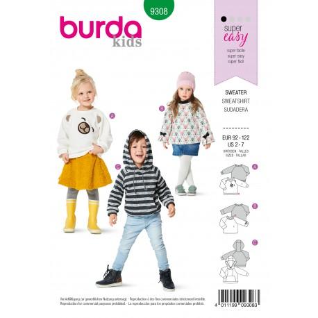 Patron Sweat Enfant Burda n°9308