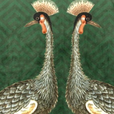 Digital print velvet fabric - green Exotic leaves x 40cm