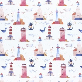 Cotton fabric - white Lighthouse x 10cm