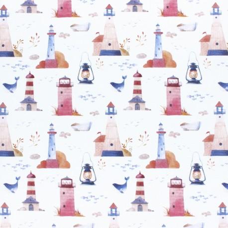 Cotton fabric - white Lighthouse x 10cm