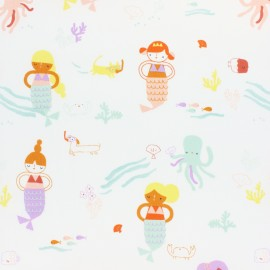 Tissu coton Dashwood Under the sea - Mermaid - écru x 10cm