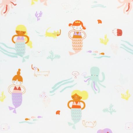 Tissu coton Dashwood Under the sea - Mermaid - écru x 10cm
