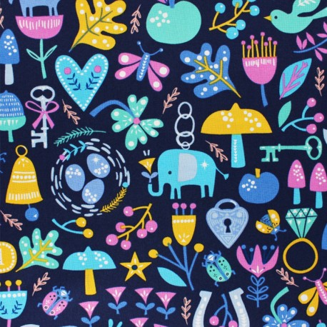 Cotton Dashwood fabric - Lost treasures - blue x 10cm