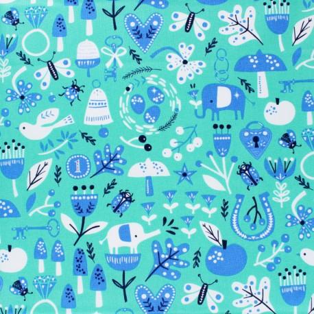 Tissu coton Dashwood Lost treasures - bleu x 10cm