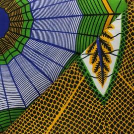 Tissu Wax Hwange - vert x 10cm