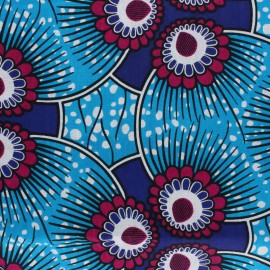 Tissu Wax Domboshawa - bleu x 10cm