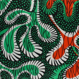 Wax print fabric - Green Dombo x 10cm