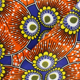 Wax print fabric - orange Lomami x 10cm