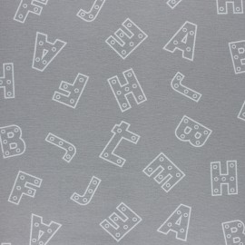 Flannel Fabric - Grey Alphabet x 10cm