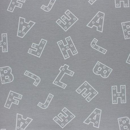 Tissu Flanelle Alphabet - gris x 10cm