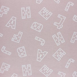 Flannel Fabric - powder pink Alphabet x 10cm