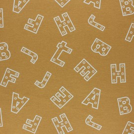 Flannel Fabric - mustard yellow Alphabet x 10cm