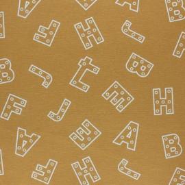 Tissu Flanelle Alphabet - jaune moutarde x 10cm