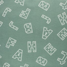 Flannel Fabric - sage green Alphabet x 10cm