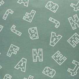 Tissu Flanelle Alphabet - bleu ciel x 10cm