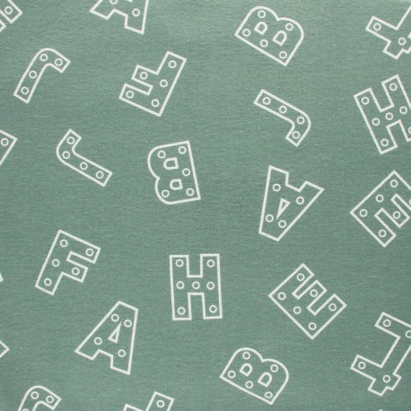 Flannel Fabric - light blue Alphabet x 10cm