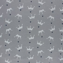 Flannel Fabric - Grey Love crown x 10cm