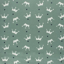 Flannel Fabric - Sage green Love crown x 10cm