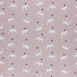 Flannel Fabric -powder pink Love crown x 10cm