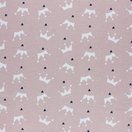 Tissu Flanelle Couronne d'amour - bleu ciel x 10cm