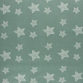 Flannel Fabric - Sage green White Star x 10cm