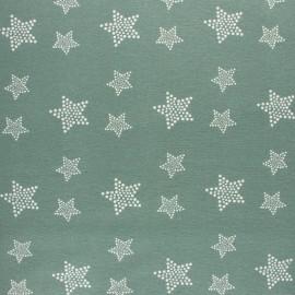 Tissu Flanelle Etoile blanche - vert sauge x 10cm