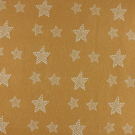 Flannel Fabric - mustard yellow White Star x 10cm