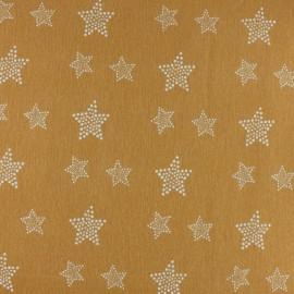 Tissu Flanelle Etoile blanche - moutarde x 10cm