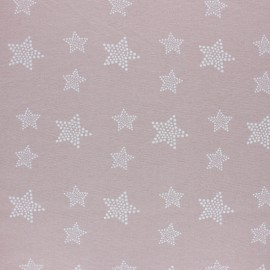 Flannel Fabric - Powder pink White Star x 10cm