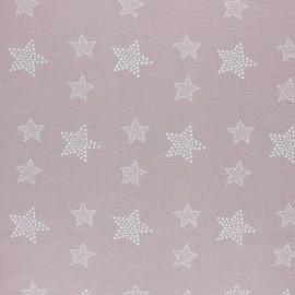 Tissu Flanelle Etoile blanche - rose poudré x 10cm