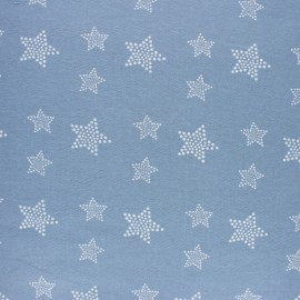 Flannel Fabric - light blue White Star x 10cm