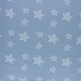 Tissu Flanelle Etoile blanche - bleu ciel x 10cm