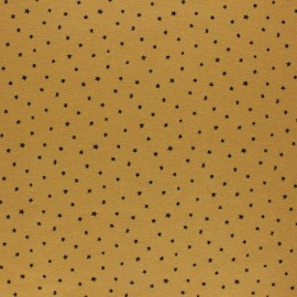 Flannel Fabric - mustard yellow Cloud of stars x 10cm